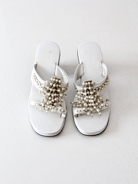 vintage chunky heel beaded sandals, size 7.5