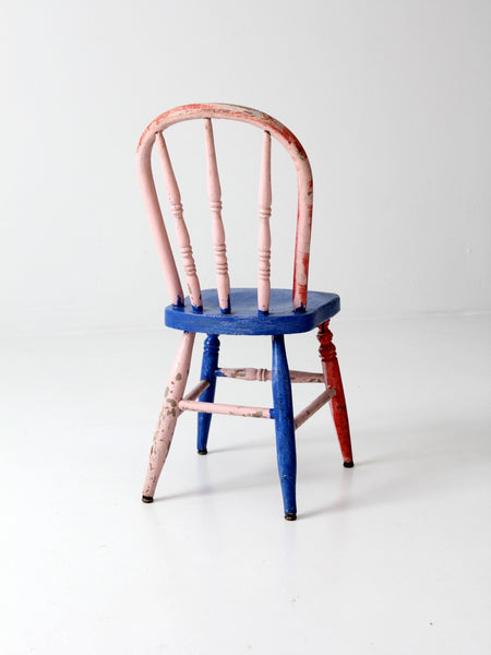 antique wood children's chair color block painted