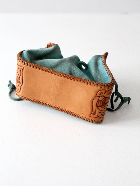 vintage tooled leather and suede southwestern hippie pouch bag