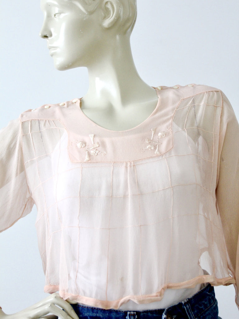 antique Edwardian pink silk blouse embroidery detail