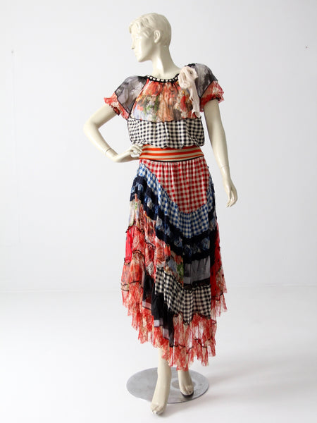 Jean Paul Gaultier chiffon skirt and top ensemble