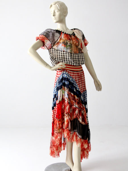 Jean Paul Gaultier chiffon skirt and blouse ensemble