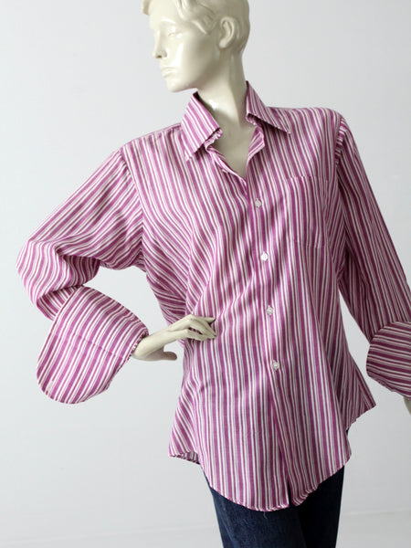 1960s men's button down shirt with french cuffs