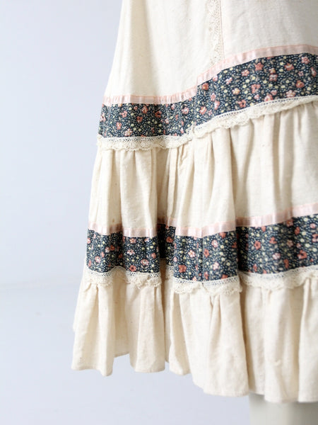 vintage 70s calico peasant skirt