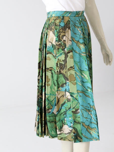 vintage 60s silk pleated a-line skirt by Eddy George