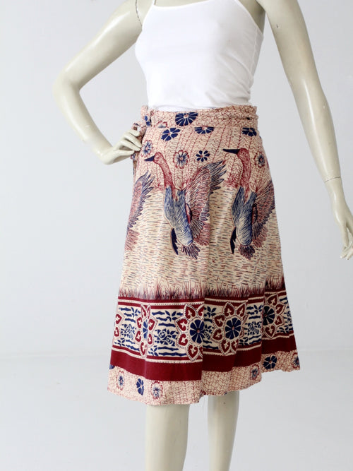 vintage 70s boho wrap skirt with bird print