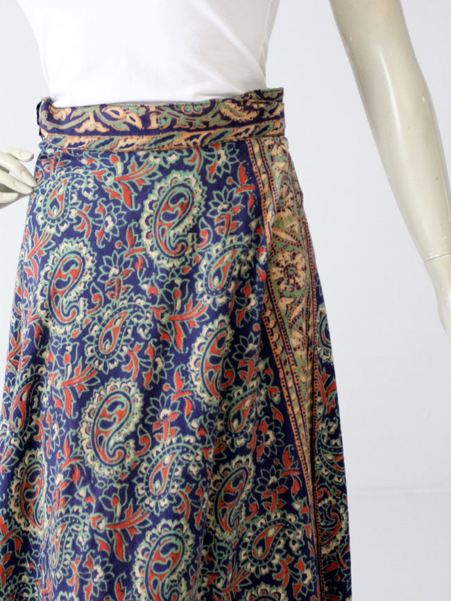 vintage 70s blue hippie wrap skirt