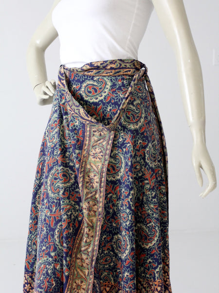 vintage 70s blue boho wrap skirt