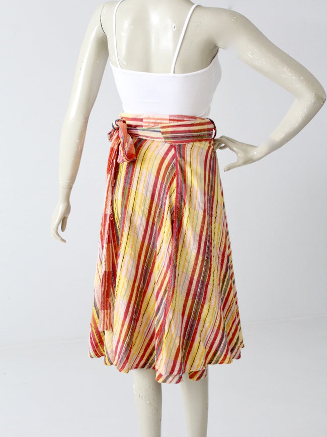 vintage 70s gauze cotton wrap skirt