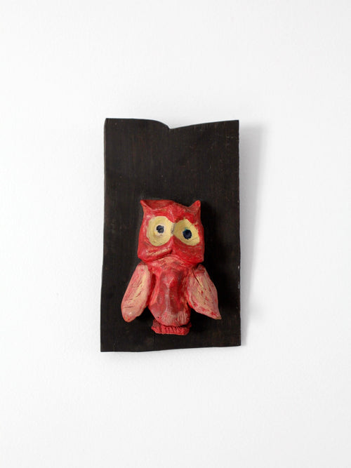 vintage pottery owl on ebony wood board art