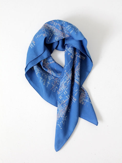 vintage blue summer hair scarf
