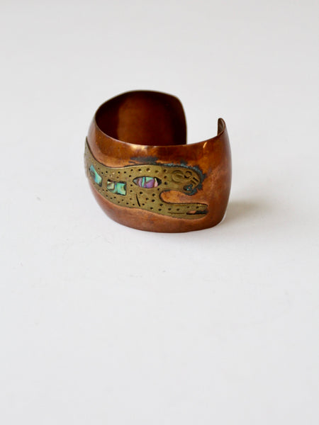 vintage copper brass and shell cuff bracelet