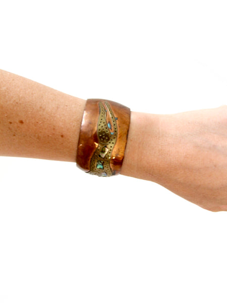 vintage copper cuff with brass and shell leopard
