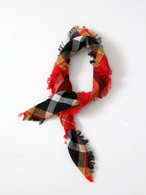 vintage red plaid scarf