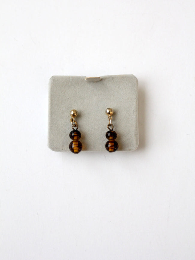 vintage topaz glass drop earrings