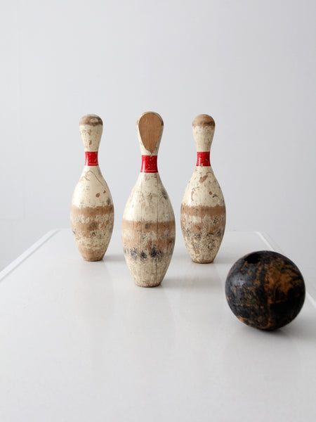 vintage wooden pin bowling game