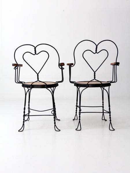 vintage heart back cafe chairs