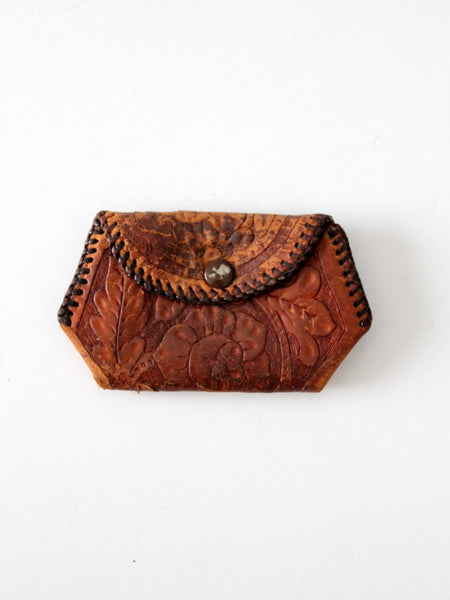 vintage beaded suede coin purse