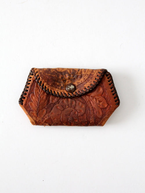 vintage 70s leather coin purse