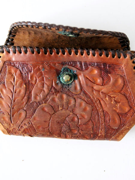 vintage tooled leather coin purse with brass snap