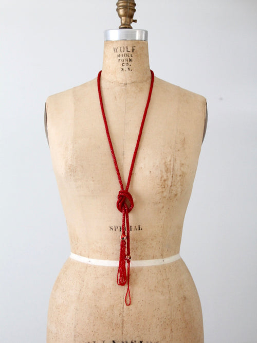 vintage red glass beaded strand necklace