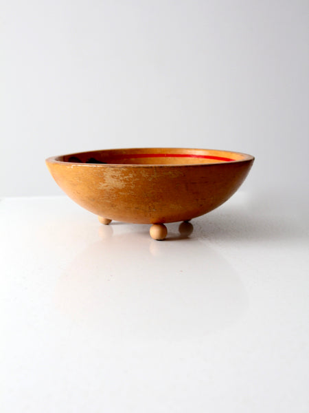 vintage footed wood kitchen bowl