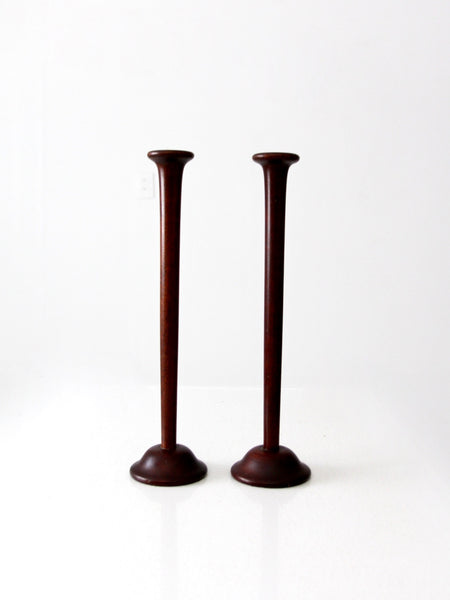 mid-century wood candle holder
