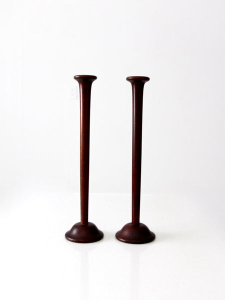 mid century wooden candle holders
