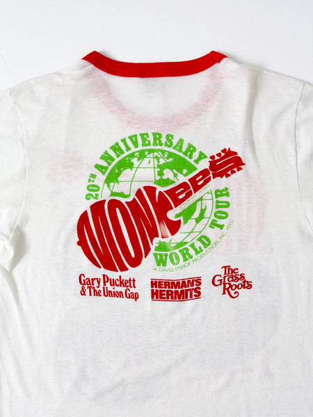 vintage Monkees 20th Anniversary tour band t-shirt