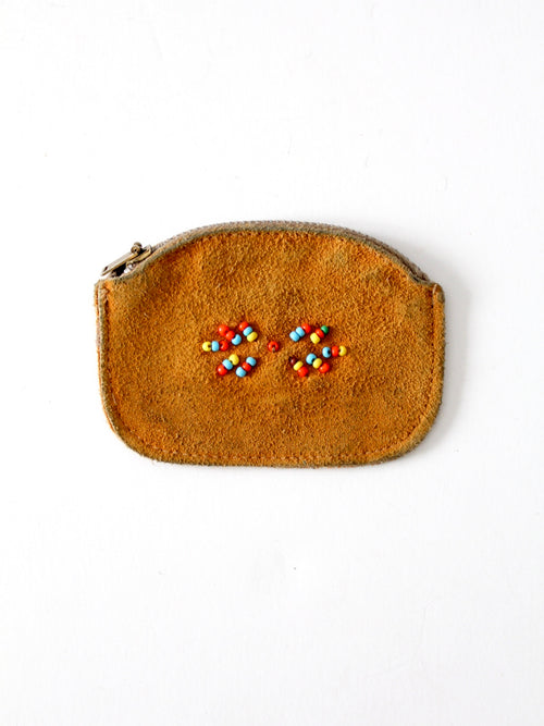 vintage suede coin purse with beads