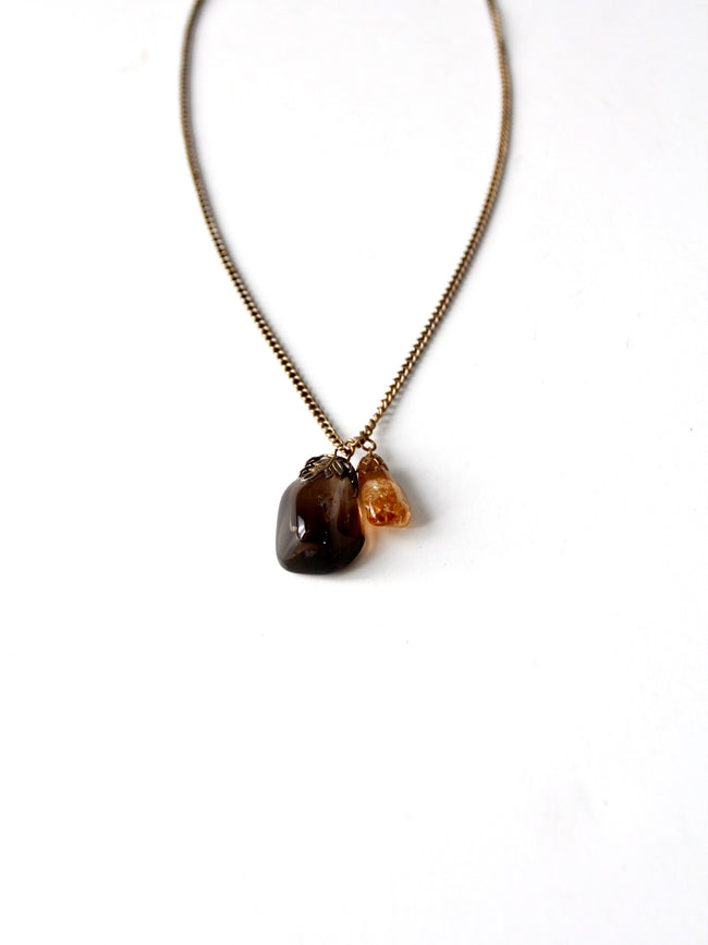 vintage polished stone pendant necklace