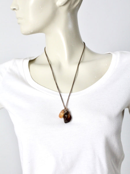 vintage polished stone charm necklace