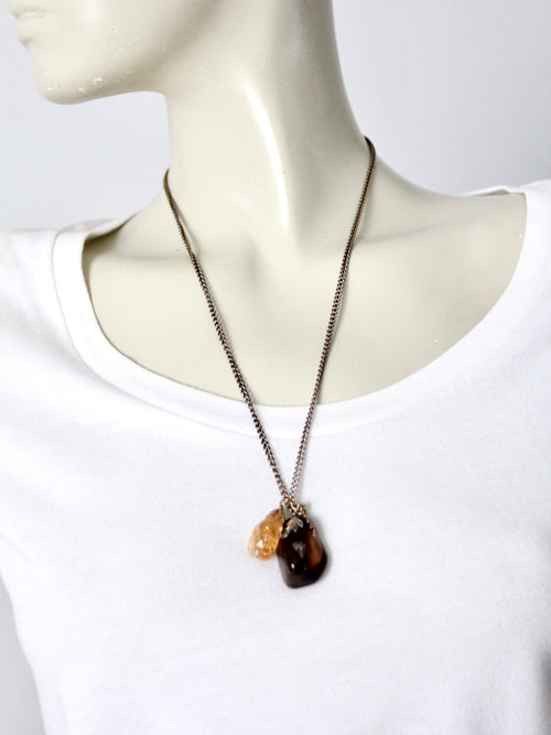 vintage stone pendant necklace