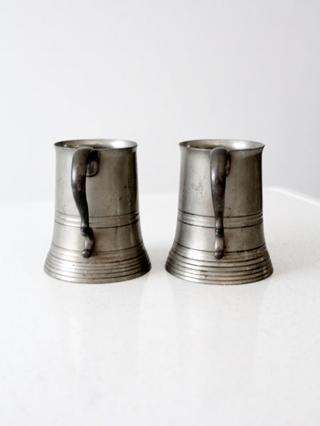 antique glass bottom pewter mugs