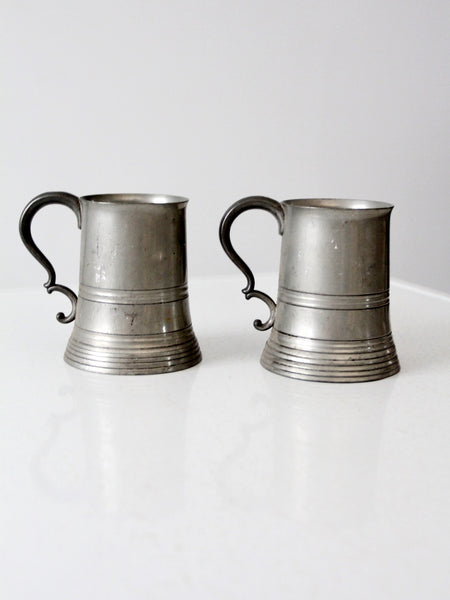 antique glass bottom pewter beer tankards