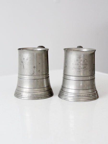 antique glass bottom pewter steins