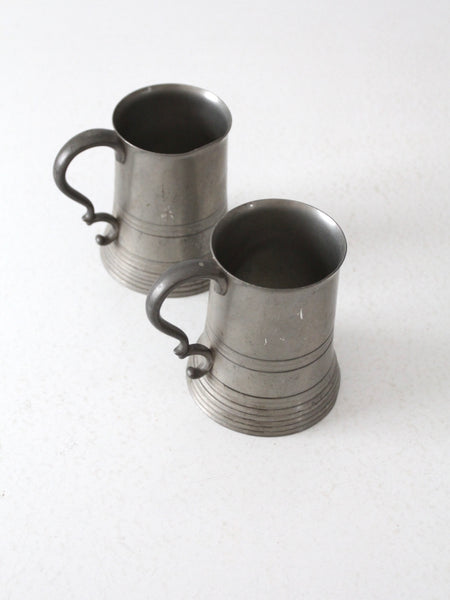 antique glass bottom pewter tankards