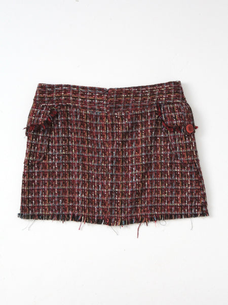 vintage purple nubby weave mini skirt