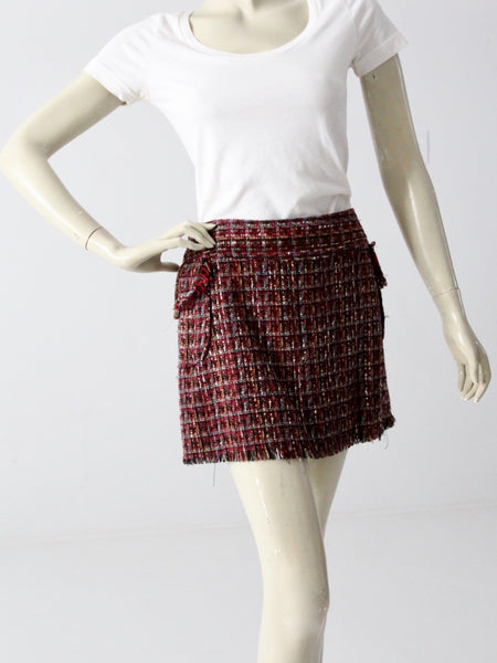 vintage plaid maxi wrap skirt