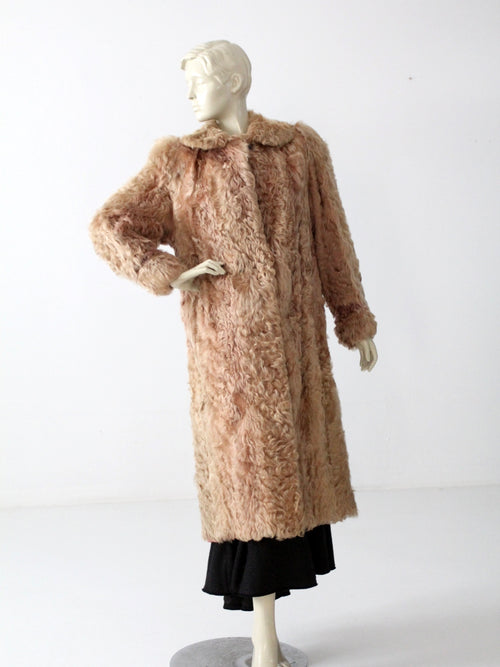 vintage brown curly lamb fur coat