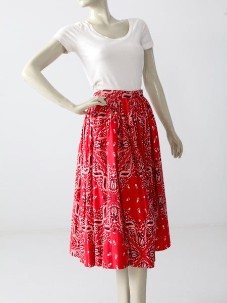 vintage 50s full skirt with bandana print