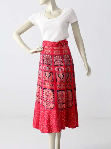 vintage red boho wrap skirt