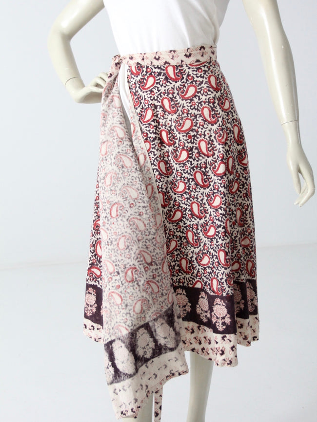 vintage 70s block print wrap skirt
