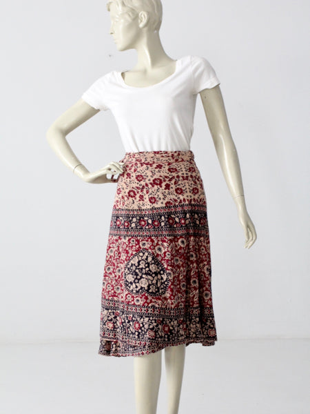 vintage boho wrap skirt with elephant print