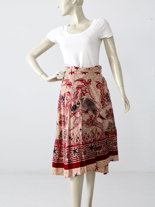 vintage hippie wrap skirt bird print