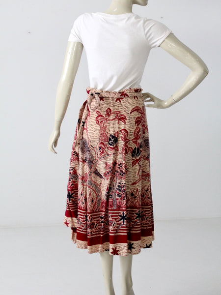 vintage bird print hippie wrap skirt