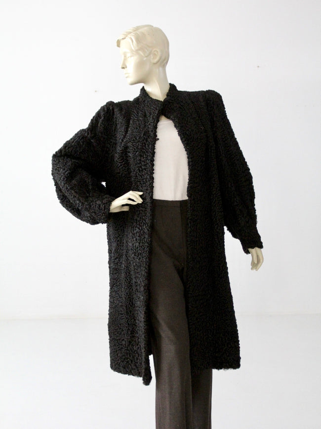 vintag black curly lamb fur coat