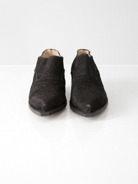 vintage black suede western boot shoes