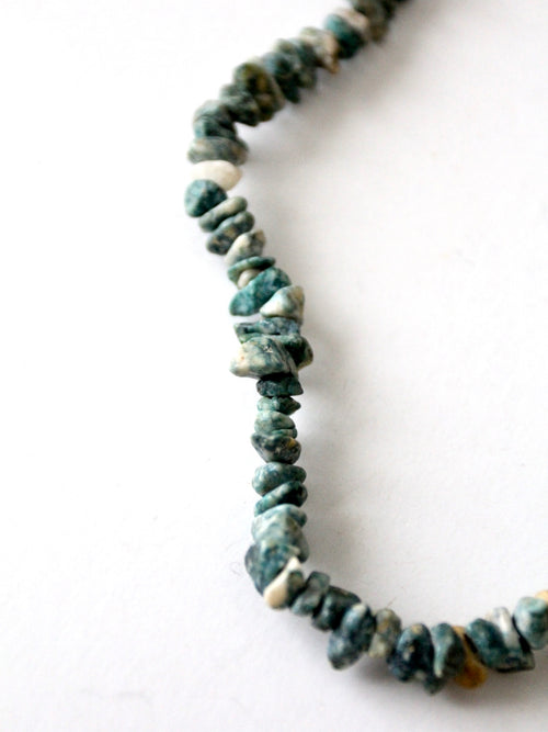 vintage raw turquoise stone necklace