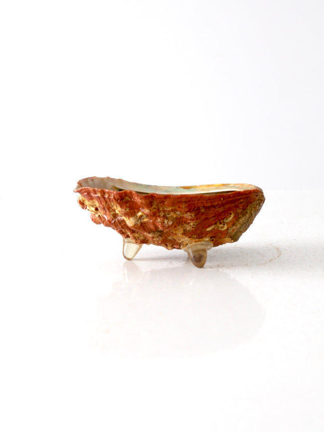 mid-century footed abalone shell bowl